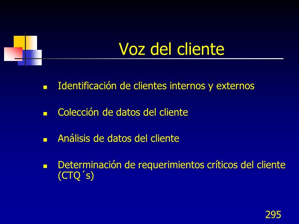 Voz del cliente Identificación de clientes internos y externos