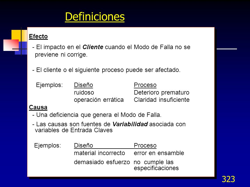 DefinicionesEfecto. - El impacto en el Cliente cuando el Modo de Falla no se previene ni corrige.