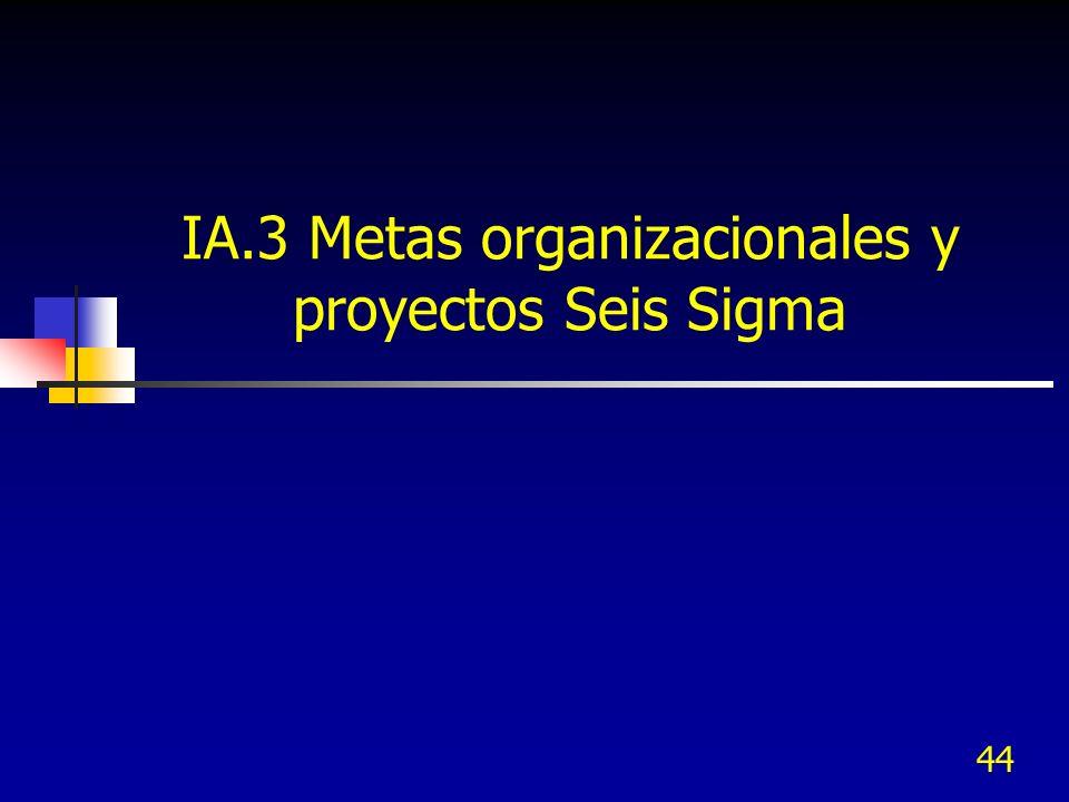 IA.3 Metas organizacionales y proyectos Seis Sigma