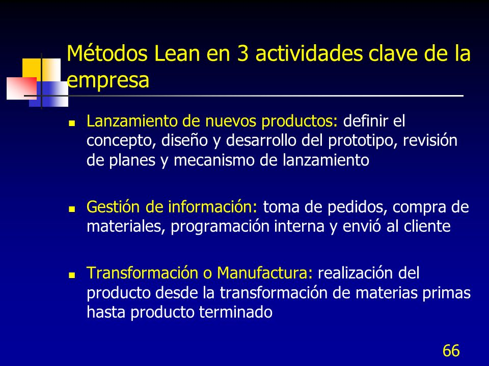 Métodos Lean en 3 actividades clave de la empresa