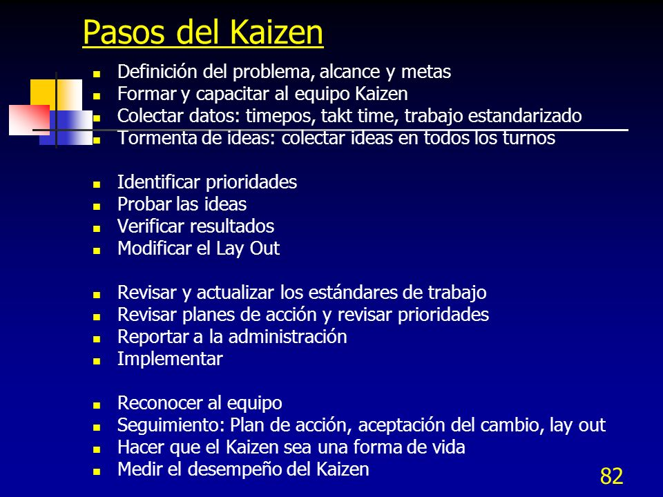 Pasos del Kaizen Definición del problema, alcance y metas