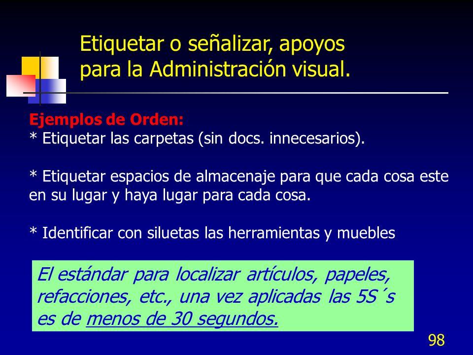 Etiquetar o señalizar, apoyos para la Administración visual.