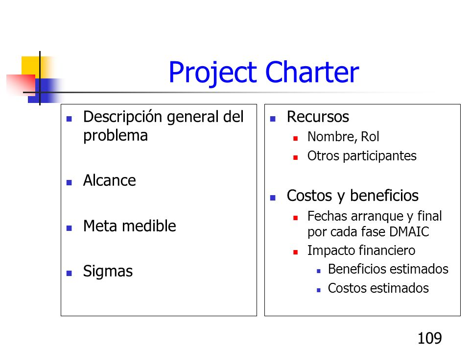 Project Charter Descripción general del problema Alcance Meta medible