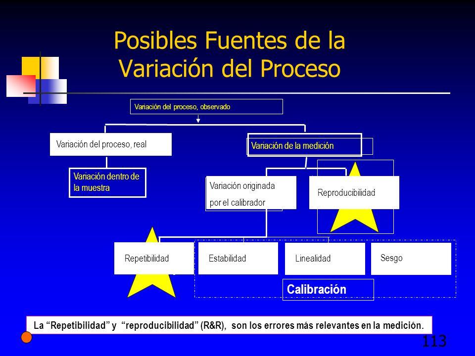 Posibles Fuentes de la Variación del Proceso
