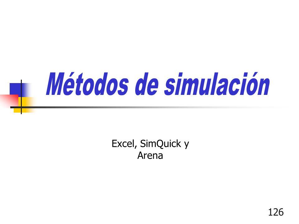 Métodos de simulación Excel, SimQuick y Arena