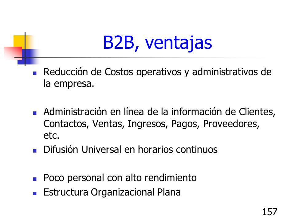 B2B, ventajas Reducción de Costos operativos y administrativos de la empresa.