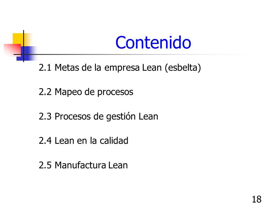 Contenido 2.1 Metas de la empresa Lean (esbelta) 2.2 Mapeo de procesos