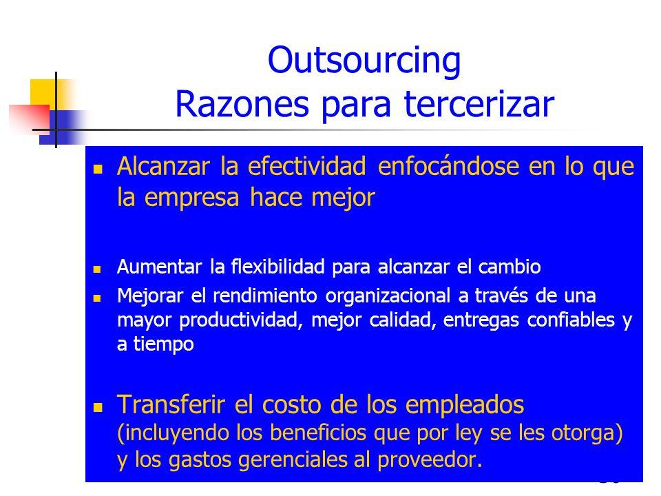 Outsourcing Razones para tercerizar