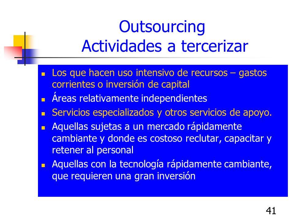 Outsourcing Actividades a tercerizar