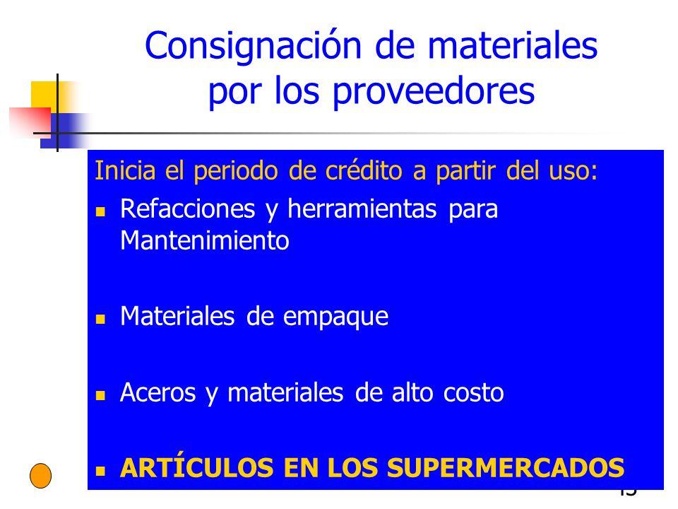 Consignación de materiales por los proveedores