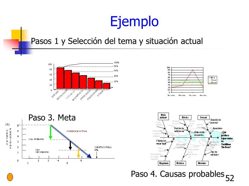Ejemplo Pasos 1 y Selección del tema y situación actual Paso 3. Meta
