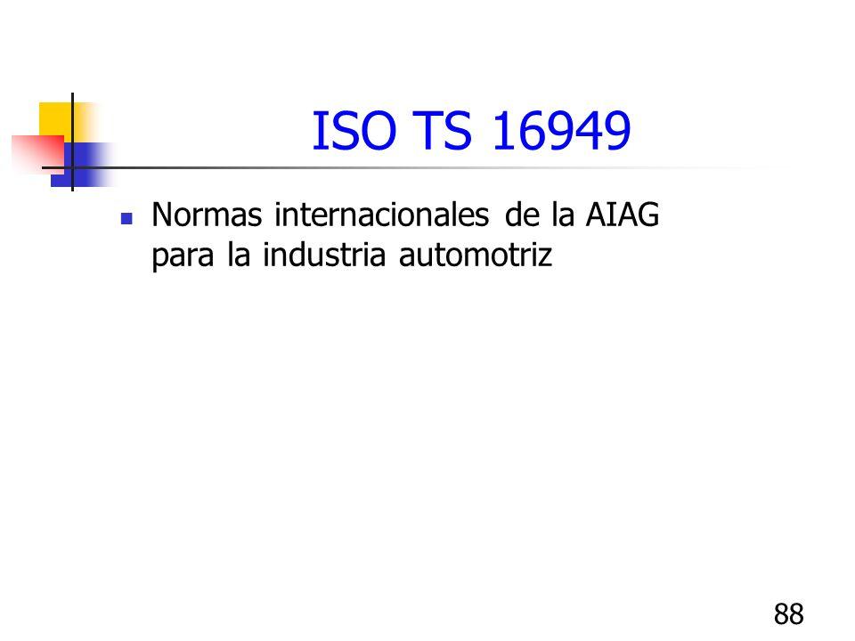 ISO TS 16949 Normas internacionales de la AIAG para la industria automotriz