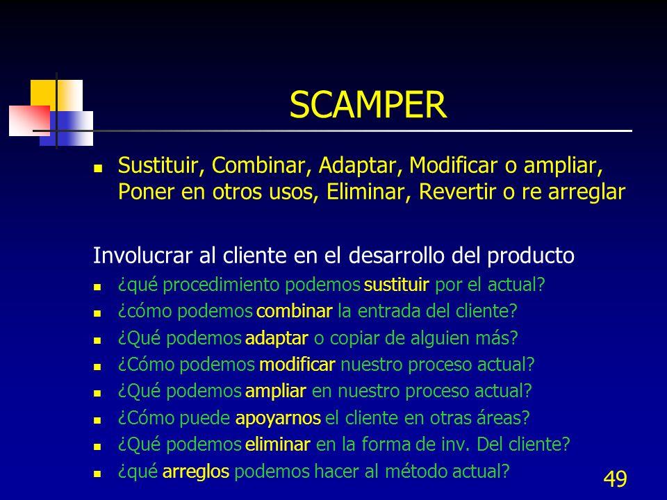 SCAMPER Sustituir, Combinar, Adaptar, Modificar o ampliar, Poner en otros usos, Eliminar, Revertir o re arreglar.