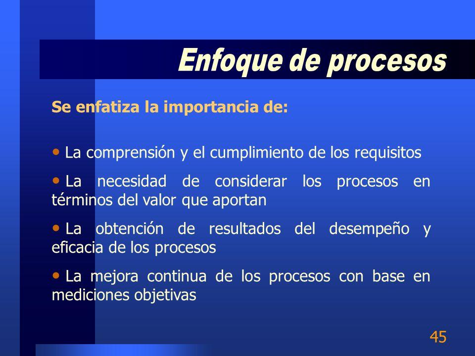 Enfoque de procesos Se enfatiza la importancia de: