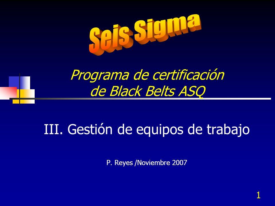 Programa de certificación de Black Belts ASQ