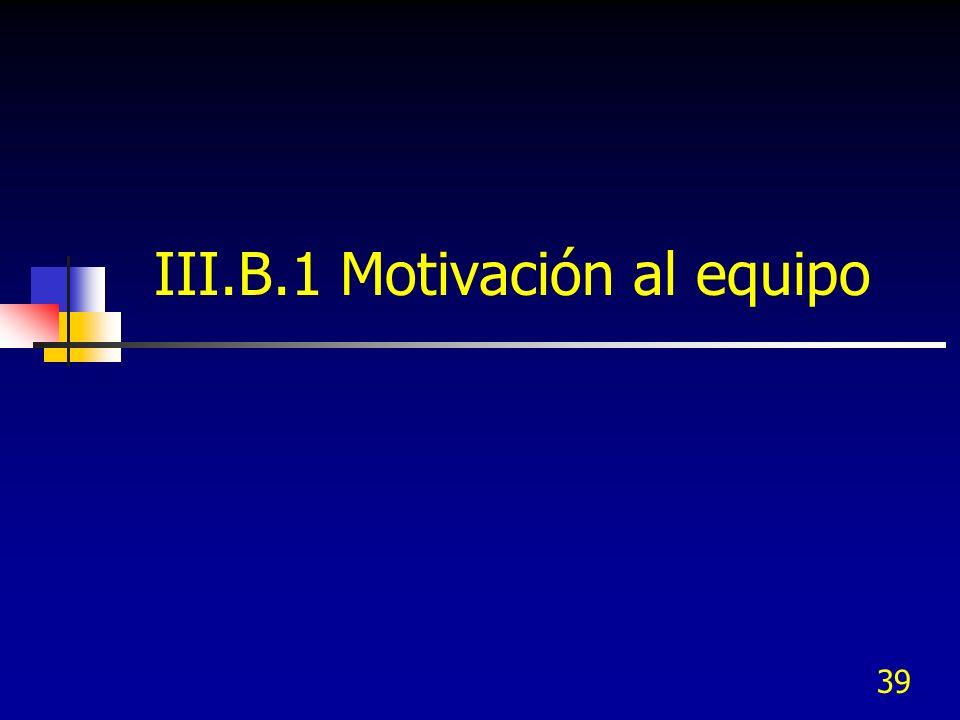III.B.1 Motivación al equipo