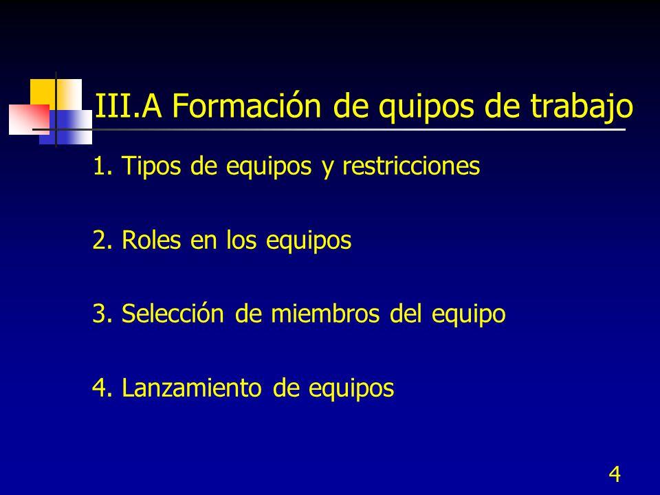 III.A Formación de quipos de trabajo
