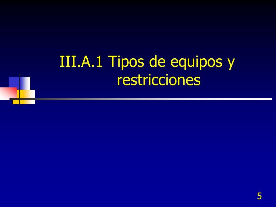 III.A.1 Tipos de equipos y restricciones