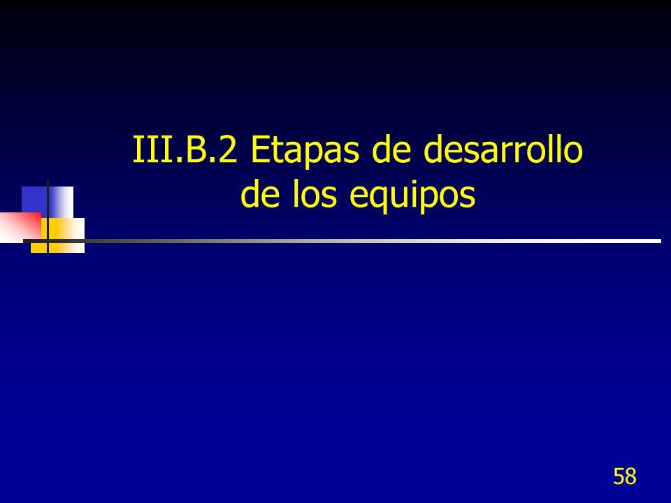 III.B.2 Etapas de desarrollo de los equipos
