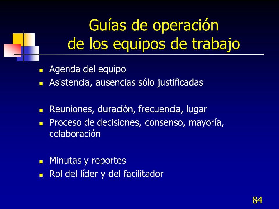 Guías de operación de los equipos de trabajo