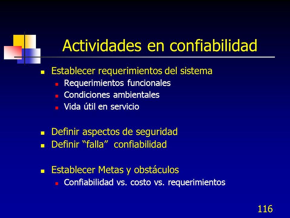 Actividades en confiabilidad