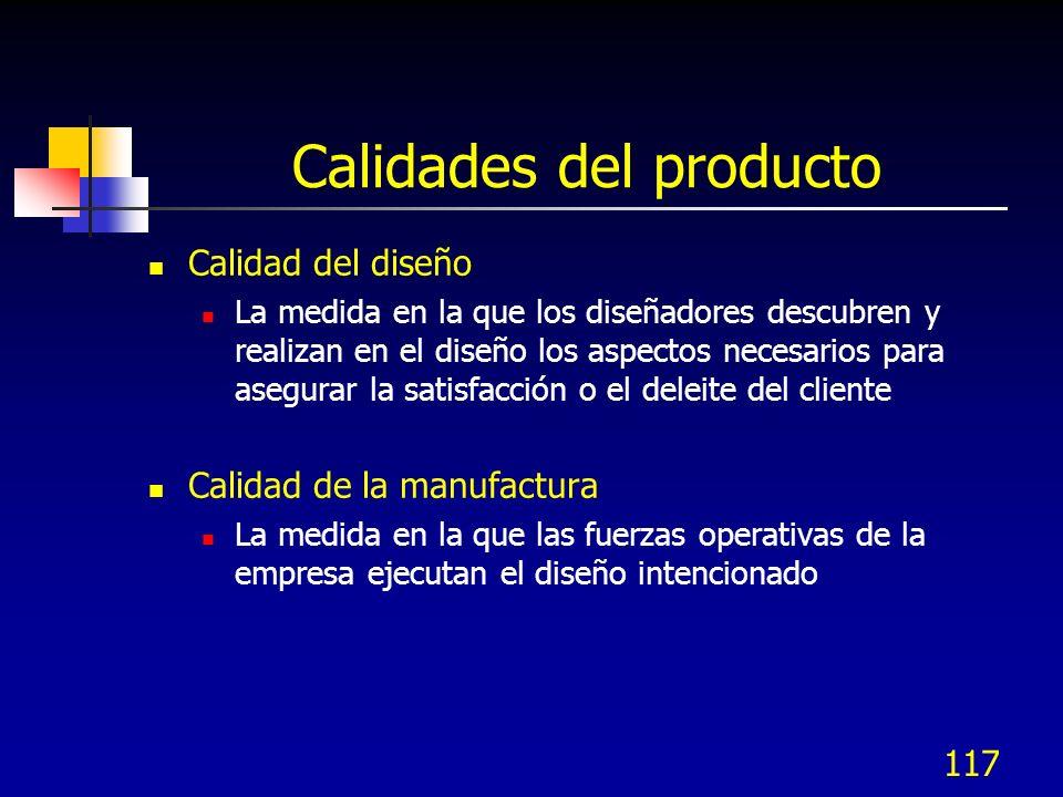 Calidades del producto