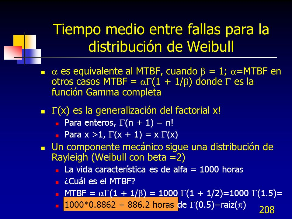 Tiempo medio entre fallas para la distribución de Weibull
