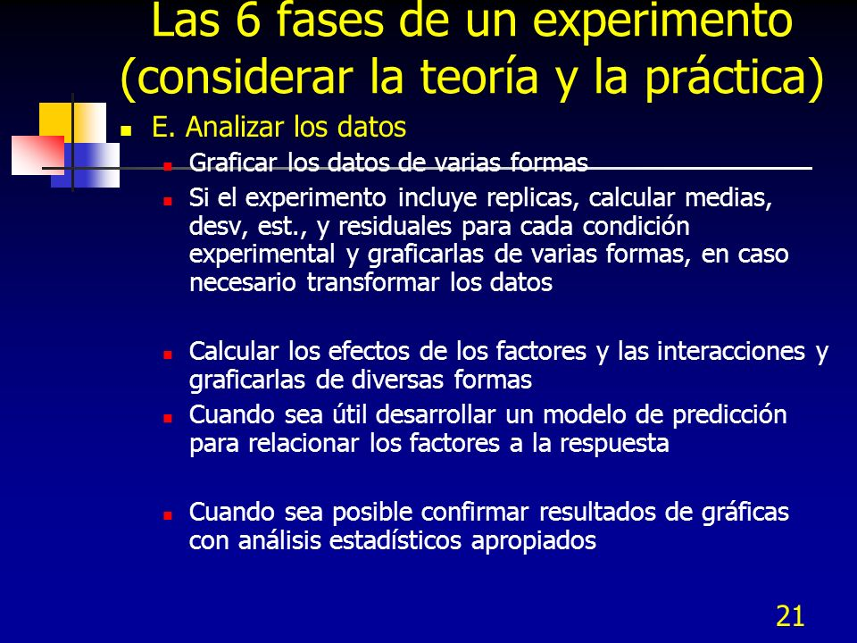 Las 6 fases de un experimento (considerar la teoría y la práctica)
