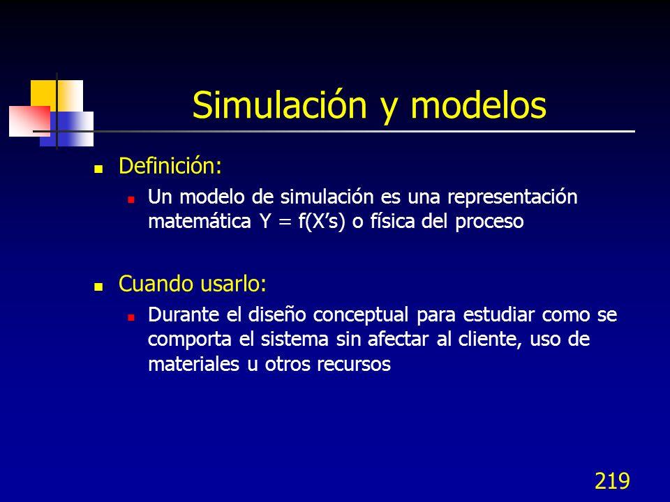 Simulación y modelos Definición: Cuando usarlo: