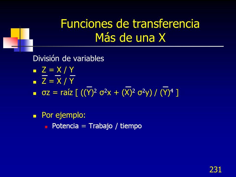 Funciones de transferencia Más de una X