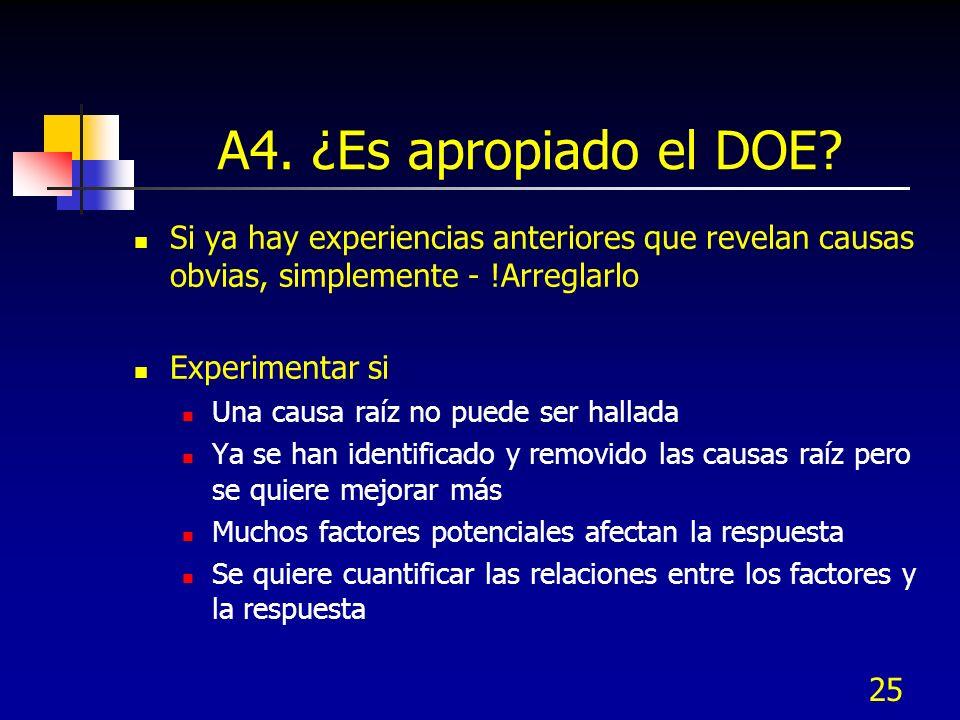 A4. ¿Es apropiado el DOE Si ya hay experiencias anteriores que revelan causas obvias, simplemente - !Arreglarlo.