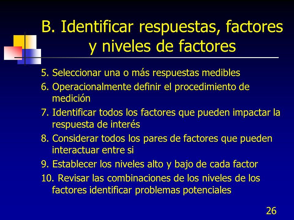 B. Identificar respuestas, factores y niveles de factores