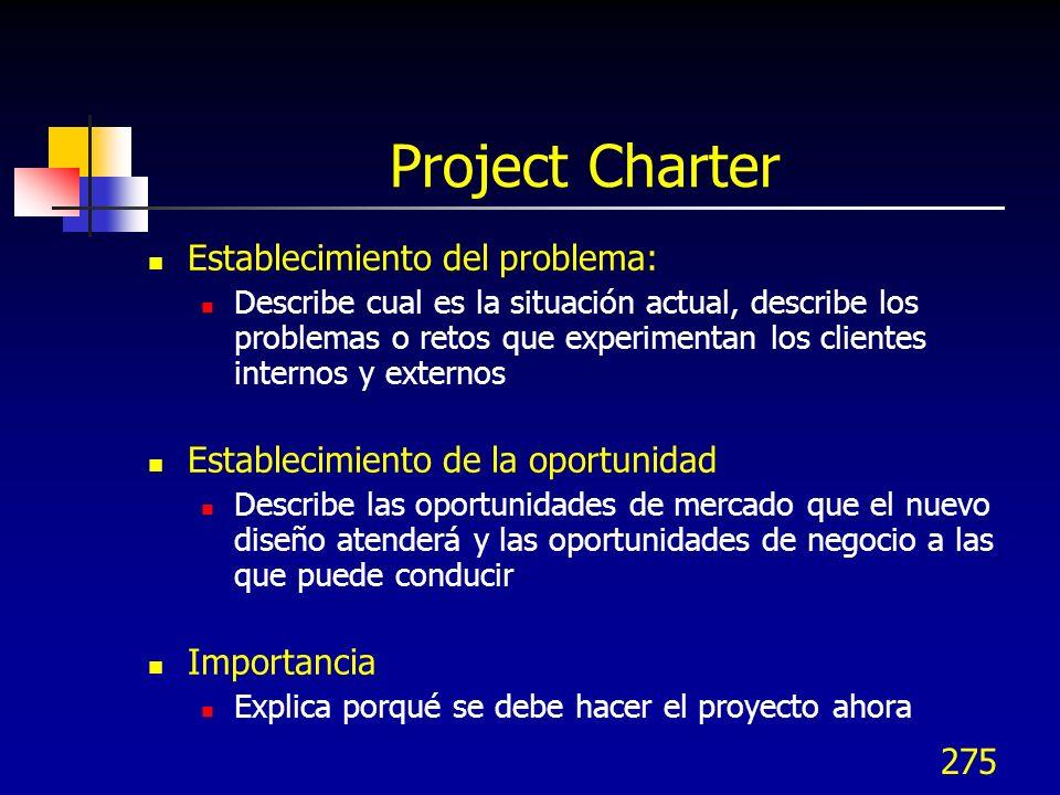 Project Charter Establecimiento del problema: