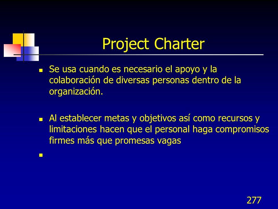 Project Charter Se usa cuando es necesario el apoyo y la colaboración de diversas personas dentro de la organización.