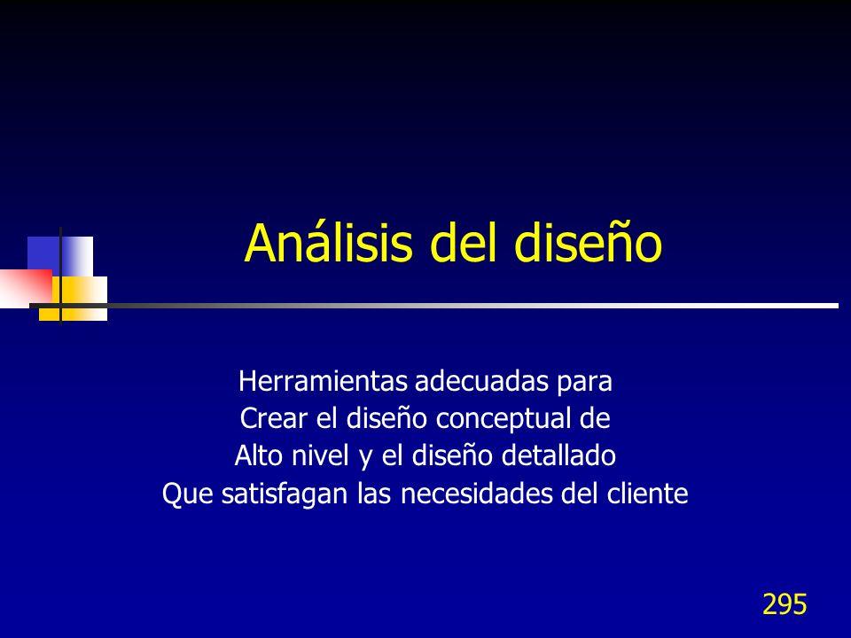 Análisis del diseño Herramientas adecuadas para