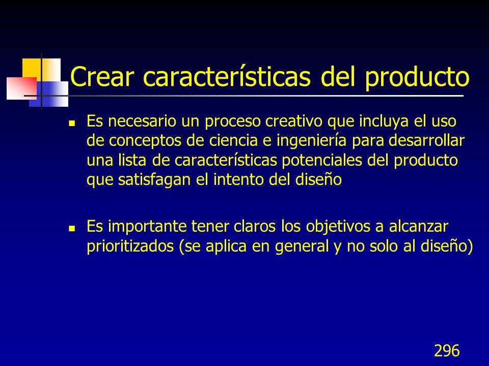 Crear características del producto