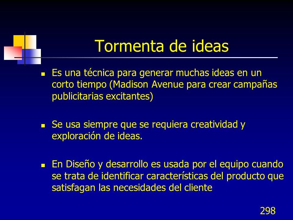 Tormenta de ideas Es una técnica para generar muchas ideas en un corto tiempo (Madison Avenue para crear campañas publicitarias excitantes)