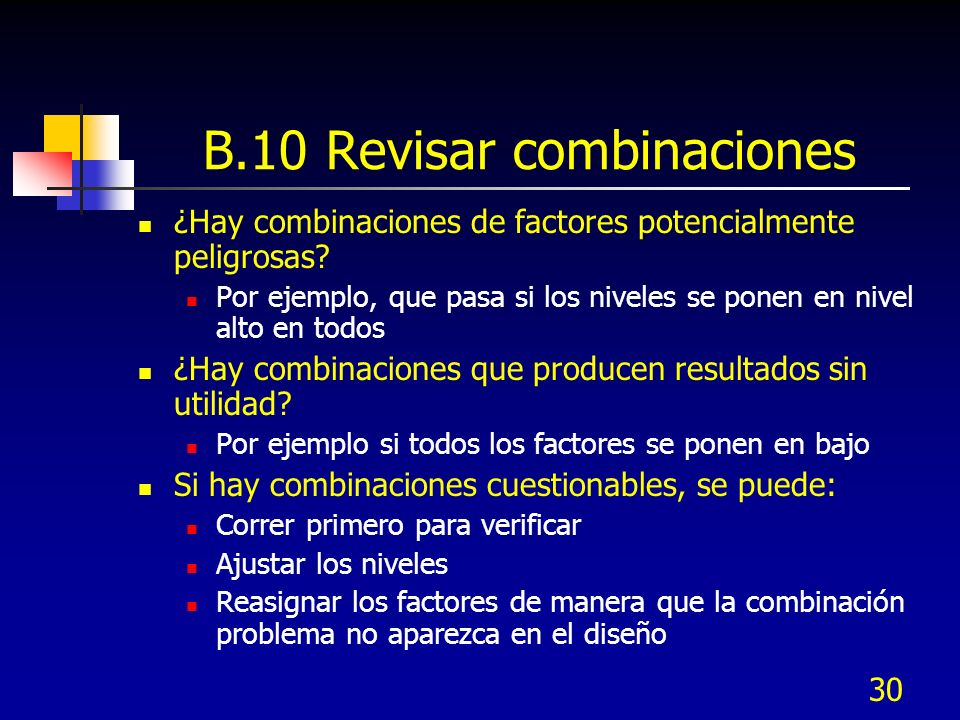 B.10 Revisar combinaciones