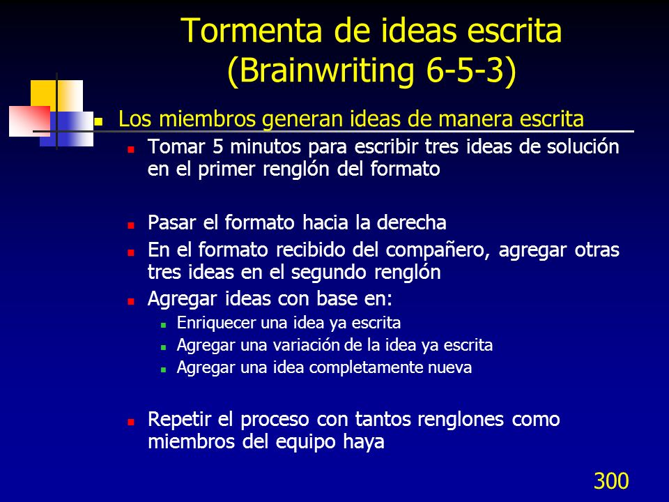 Tormenta de ideas escrita (Brainwriting 6-5-3)