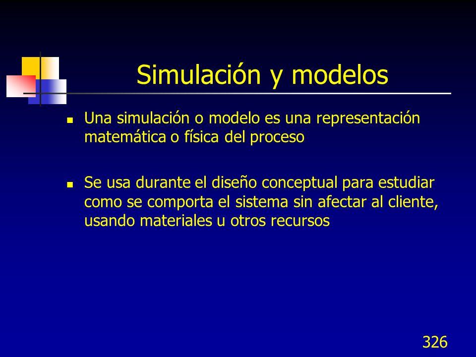 Simulación y modelos Una simulación o modelo es una representación matemática o física del proceso.