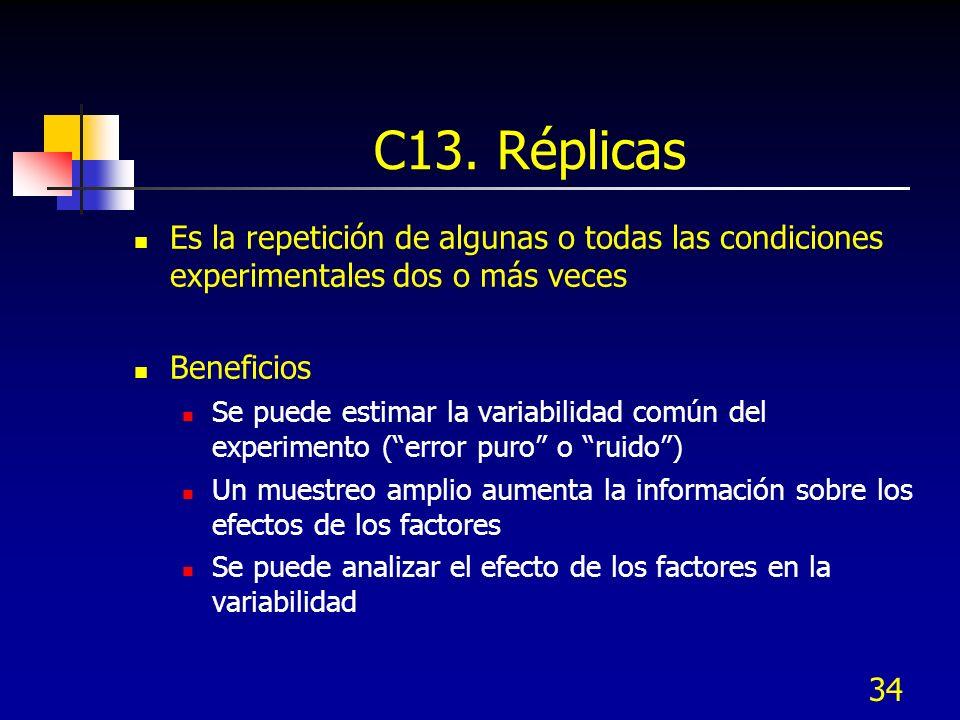 C13. Réplicas Es la repetición de algunas o todas las condiciones experimentales dos o más veces. Beneficios.