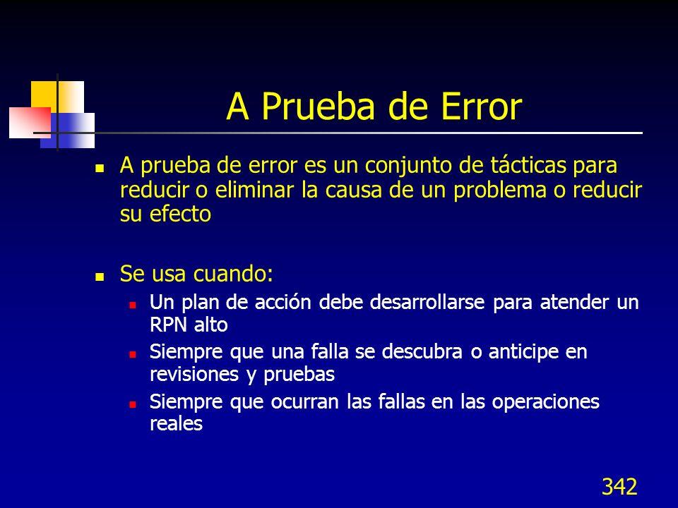 A Prueba de Error A prueba de error es un conjunto de tácticas para reducir o eliminar la causa de un problema o reducir su efecto.