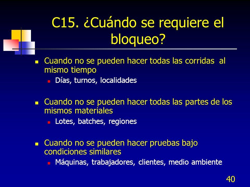 C15. ¿Cuándo se requiere el bloqueo