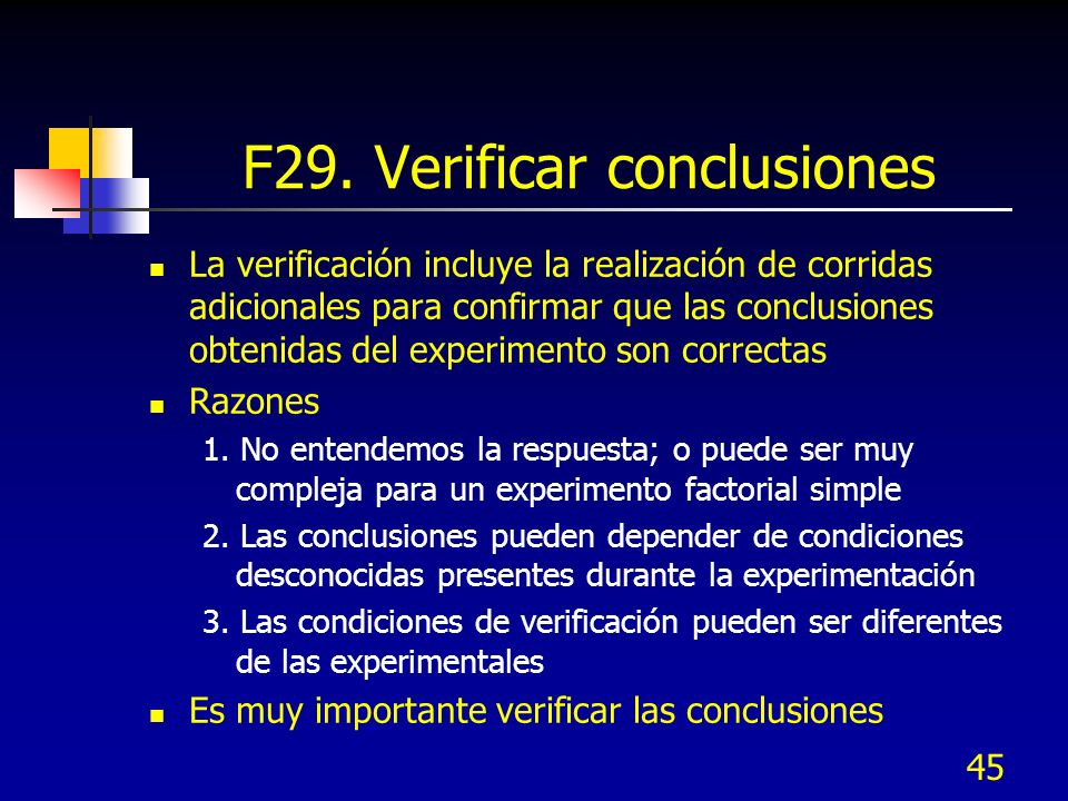 F29. Verificar conclusiones