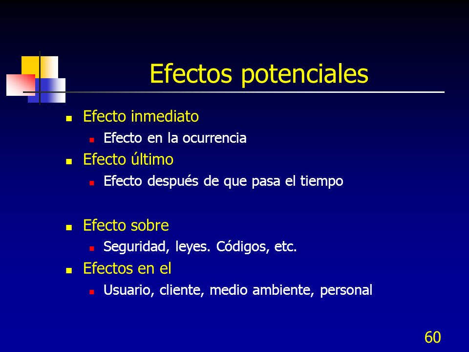 Efectos potenciales Efecto inmediato Efecto último Efecto sobre
