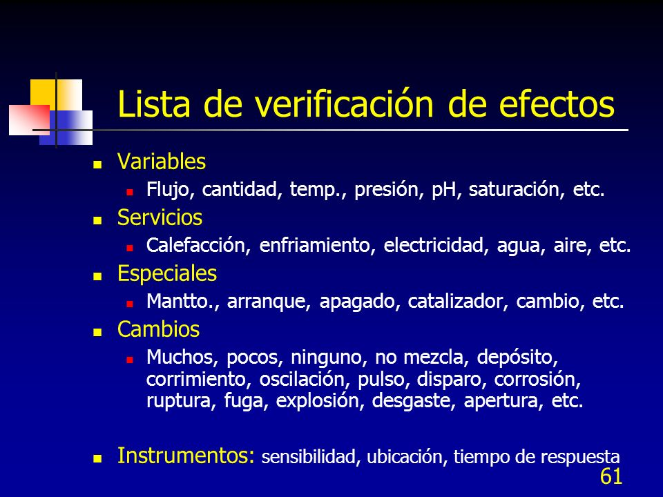 Lista de verificación de efectos