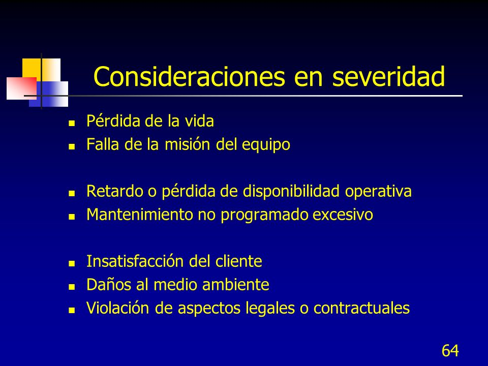 Consideraciones en severidad
