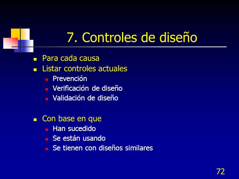 7. Controles de diseño Para cada causa Listar controles actuales