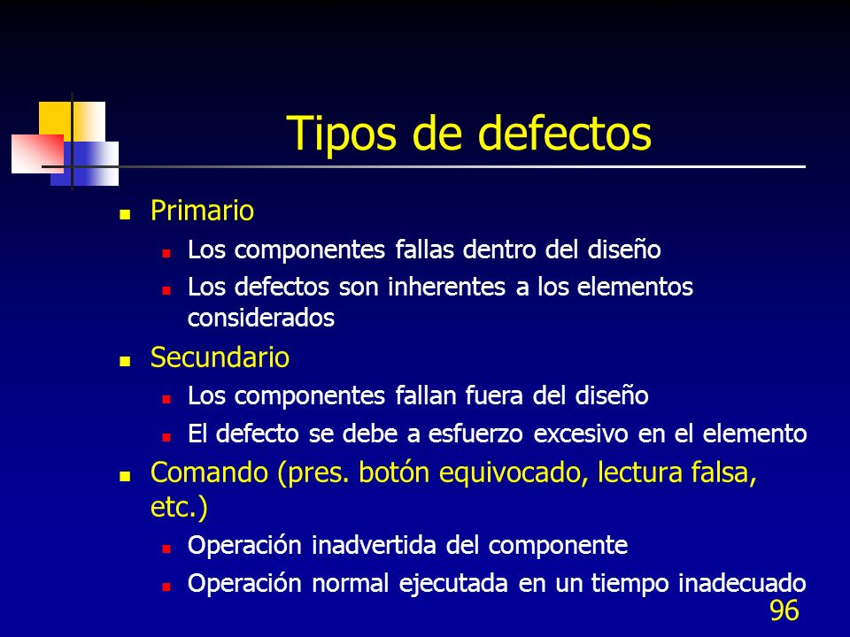 Tipos de defectos Primario Secundario
