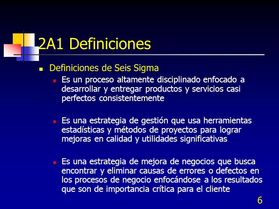 2A1 Definiciones Definiciones de Seis Sigma